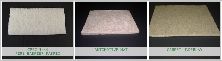 Bast Fiber Automotive Mat, Carpet Underlay and CPSC 1633 Fire Barrier Fabric