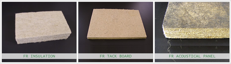 Flame Resistant Insulation, Tack Board and Acoustical Panel Bast Fiber Products